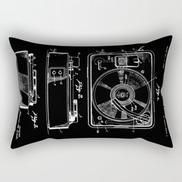 Turntable Patent - White on Black Rectangular Pillow