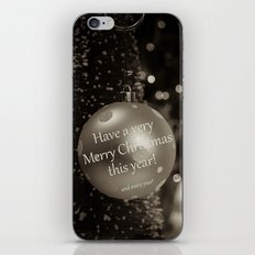 Christmas Greeting -- Old Fashioned Sepia iPhone & iPod Skin