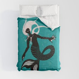 Creepy Dark Mermaid With Fish Skeleton Necklace Comforters