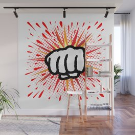 Red And Yellow Cartoon Splash Fist Punch Wall Mural