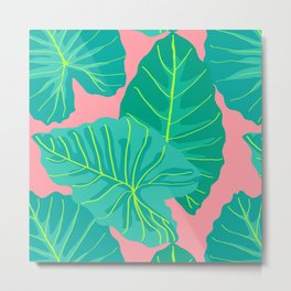 Giant Elephant Ear Leaves in Peachy Coral Metal Print