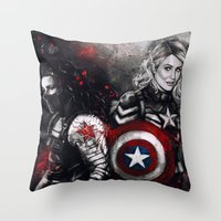 stucky Throw Pillows featuring Can You Love Me Again by Monika Gross