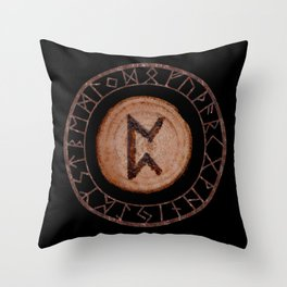 Perthro Elder Futhark Rune of fate and the unmanifest, probability, luck, nothingness, the unborn Throw Pillow