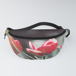 Red Tulip Flower Photography, Floral Green Grass, Red Nature Botanical Art Fanny Pack