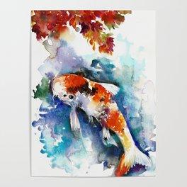 Koi Fish in the Pond - Zen Watercolor Poster