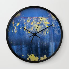 Blue and Yellow Rust Abstact Wall Clock