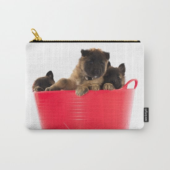 Three puppies in red laundry basket Carry-All Pouch