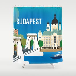 Budapest, Hungary - Skyline Illustration by Loose Petals Shower Curtain