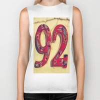 number Biker Tanks featuring door number by gzm_guvenc