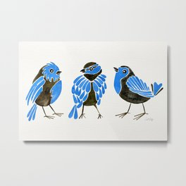 Blue Finches Metal Print