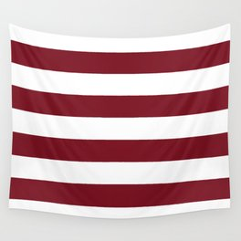 Deep Red Pear and White Wide Horizontal Cabana Tent Stripe Wall Tapestry