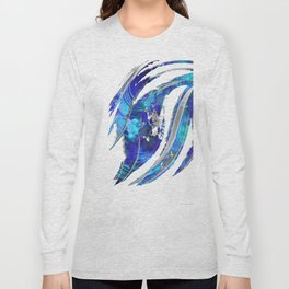 Blue and White Abstract Art - Flowing 2 - Sharon Cummings Long Sleeve T-shirt