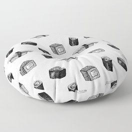 Sushi pattern. Hand-drawn japanese food sushi and rolls on a white background Floor Pillow