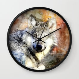 Wolf Animal Wild Nature-watercolor Illustration Wall Clock