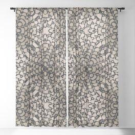 Black and Tan Geometric Modern Chrysanthemum Pattern Sheer Curtain