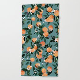 Dear Clementine - oranges teal by Crystal Walen Beach Towel