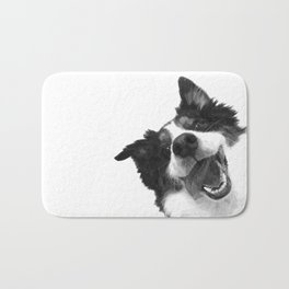 Black and White Happy Dog Bath Mat