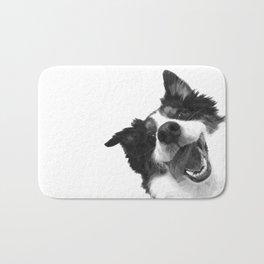Black and White Happy Dog Bath Mat