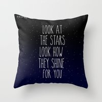 coldplay Throw Pillows featuring Look How They Shine For You by Adel