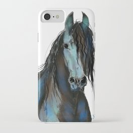 BLaCK FRieSiaN HoRSe PRiNT ' THe ONe ' BY SHiRLeY MacARTHuR iPhone Case