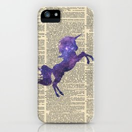 Glaxy Unicorn on Vintage Dictionary Page iPhone Case