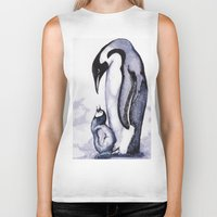 penguins Biker Tanks featuring Penguins by Heather Lamb