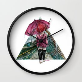 out in the rain Wall Clock