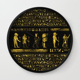 Golden Egyptian Gods and hieroglyphics on leather Wall Clock