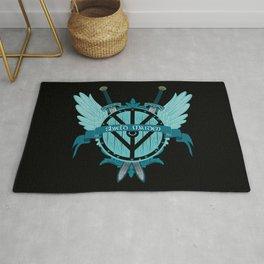 Shield Maiden Winged Teal Viking Shield Rug