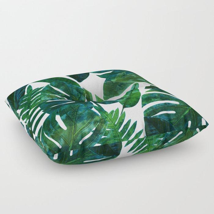 Tropical Nature Monstera Watercolor Painting, Botanical Jungle Dark Palm Illustration Floor Pillow