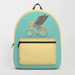 Cockatiel on a Bicycle Backpack