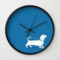 dachshund Wall Clocks featuring Dachshund by David Soames