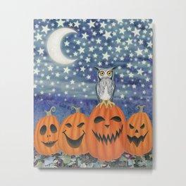 Halloween owl & pumpkins Metal Print