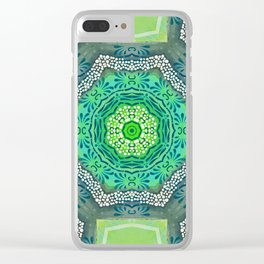 Octagon Kaleidoscope Flower in Green Turquoise and Gray Clear iPhone Case