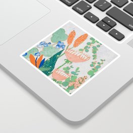 Proteas and Birds of Paradise Painting Sticker