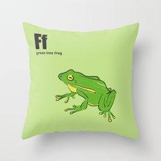 green tree frog Throw Pillow