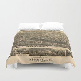 Vintage Pictorial Map of Asheville NC (1891) Duvet Cover
