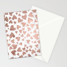 Modern rose gold handdrawn hearts love valentine white marble pattern Stationery Cards