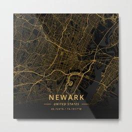 Newark, United States - Gold Metal Print