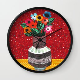 Flower Vase Collage by Veronique de Jong Wall Clock