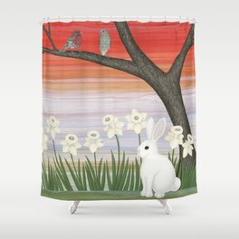 psychedelic spring scene Shower Curtain