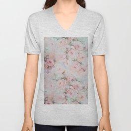 Vintage romantic blush pink teal bohemian roses floral Unisex V-Neck