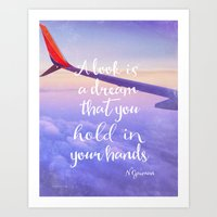 neil gaiman Art Prints featuring Neil Gaiman, quotes, flight by Good vibes and coffee