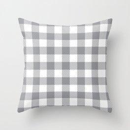 Buffalo Plaid - Grey & White Throw Pillow