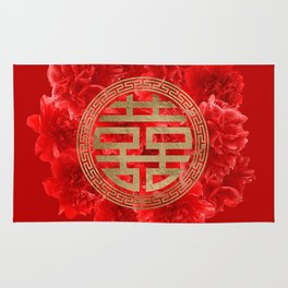 Double Happiness Symbol on Red Peonies Rug