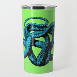 Snek 1 Snake Teal Turquoise Lime Green Travel Mug