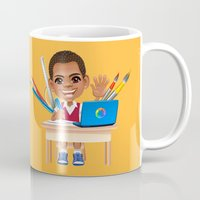 super heroes Mugs featuring Super Heroes Work Hard by youngmindz