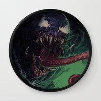 venom Wall Clocks featuring Venom by MATT DEMINO