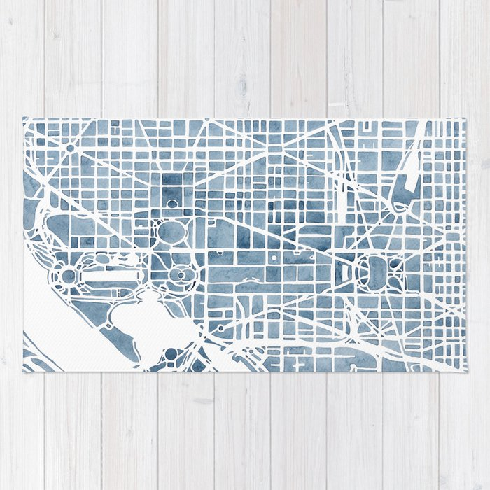 Washington dc blueprint watercolor map rug by aemcdraw society6 washington dc blueprint watercolor map rug malvernweather Images