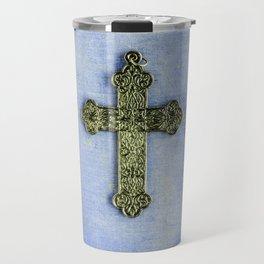 Blue Crucifix Travel Mug